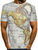 baratos Camisas Masculinas-Homens Tamanho Europeu / Americano Camiseta Moda de Rua / Exagerado Estampado, Estampa Colorida / 3D / Letra Decote Redondo Cinzento / Manga Curta