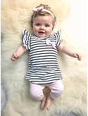זול סטים של ביגוד לתינוקות-סט של בגדים שרוולים קצרים פסים / משובץ דמקה בנות תִינוֹק