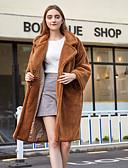 Χαμηλού Κόστους Women's Fur & Faux Fur Coats-Γυναικεία Καθημερινά / Δουλειά / Παραλία Χειμώνας Μακρύ Faux Fur Coat, Μονόχρωμο Turndown Μακρυμάνικο Ψεύτικη Γούνα Κάμελ / Χακί / Φαρδιά
