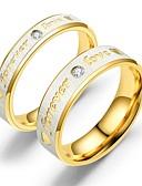 baratos Relógios de Casal-Casal Anéis de Casal Anel 1pç Dourado Ouro Rose Aço Inoxidável Circular Vintage Básico Fashion Promessa Jóias Coração Coração