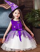 baratos Conjuntos para Meninas-Infantil Para Meninas Activo Doce Retalhos Halloween Sem Manga Acima do Joelho Vestido Preto
