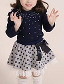 cheap Girls' Clothing Sets-Toddler Girls' Active Casual Polka Dot Long Sleeve Regular Clothing Set Navy Blue