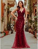 ราคาถูก Special Occasion Dresses-ทรัมเป็ต / เมอร์เมด Plunging Neckline ลากพื้น Tulle / เลื่อม ทางการ แต่งตัว กับ เลื่อม / เข็มกลัด / จีบ โดย LAN TING Express