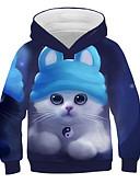 baratos Moletons Para Meninas-Infantil Para Meninas Activo Moda de Rua Gato Estampado 3D Animal Estampado Manga Longa Moleton & Blusa de Frio Azul