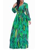 זול שמלות מקסי-מקסי פרחוני משובץ - שמלה ישרה סווינג בוהו סגנון רחוב בגדי ריקוד נשים