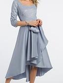 Χαμηλού Κόστους Βραδινά Φορέματα-Γραμμή Α Με Κόσμημα / Scoop Neck Κάτω από το γόνατο Δαντέλα / Σατέν Μισό μανίκι Κομψό & Πολυτελές Φόρεμα Μητέρας της Νύφης με Ζώνη / Κορδέλα / Πλισέ 2020