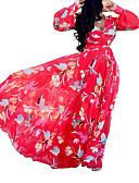 Χαμηλού Κόστους Μακριά Φορέματα-Γυναικεία Μπόχο Κομψό στυλ street Σε γραμμή Α Swing Φόρεμα - Φλοράλ Καρό Μακρύ