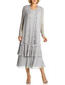 Χαμηλού Κόστους Φορέματα κοκτέιλ-Γραμμή Α Με Κόσμημα Κάτω από το γόνατο Σιφόν Μακρυμάνικο Μεγάλο Μέγεθος / Κομψό Φόρεμα Μητέρας της Νύφης με Δαντέλα / Ζώνη / Κορδέλα 2020
