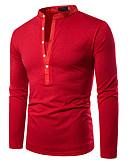 ราคาถูก เสื้อโปโลสำหรับผู้ชาย-สำหรับผู้ชาย Polo พื้นฐาน ลายต่อ สีพื้น Black / White / Red สีดำ