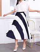 povoljno Print Dresses-Žene A kroj Osnovni Suknje - Color block Print Crn One-Size