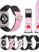 baratos Faixa de relógio de couro-Laço de couro genuíno para apple watch band 44mm / 40mm / 42mm / 38mm cinta de amor homem mulheres pulseira com conector adaptador para iwatch series 4 3 2 1