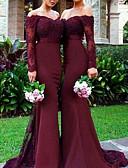 Χαμηλού Κόστους Βραδινά Φορέματα-Τρομπέτα / Γοργόνα Ώμοι Έξω Ουρά Σιφόν / Δαντέλα Φόρεμα Παρανύμφων με Δαντέλα