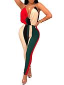 billige Jumpsuits og sparkebukser til damer-Dame Grunnleggende Rosa Gul Rød Kjeledresser, Fargeblokk Åpen rygg S M L