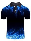 baratos Pólos Masculinas-Homens Polo Básico / Moda de Rua Estampado, Estampa Colorida / 3D / Gráfico Azul