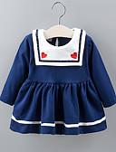 ราคาถูก ชุดเด็กทารกผู้หญิง-ทารก เด็กผู้หญิง พื้นฐาน สีพื้น แขนยาว ยาวถึงเข่า กระโปรงชุด ทับทิม