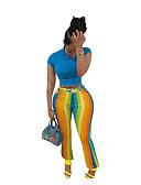 זול מכנסיים לנשים-בגדי ריקוד נשים פעיל / סגנון רחוב צ'ינו מכנסיים - פסים פס קשת M L XL