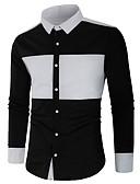 baratos Camisas Masculinas-Homens Camisa Social Básico Patchwork, Sólido / Estampa Colorida Preto