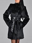 olcso Női szőrme és műszőrme kabátok-Női Napi / Alkalmi Ősz / Tél Hosszú Faux Fur Coat, Egyszínű Körgallér Hosszú ujj Műszőrme Fekete
