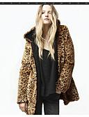 olcso Női szőrme és műszőrme kabátok-női napi alapvető őszi és téli szokásos műszőrme, leopárd kapucnis hosszú ujjú műszőrme barna