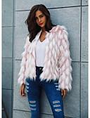 baratos Casacos para mulheres-Mulheres Feriado / Para Noite Vintage / Moda de Rua Outono & inverno Curto Casaco De Pele De Falso, Estampa Colorida Decote Redondo Manga Longa Pêlo Sintético Rosa