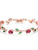 billige Ringbærerdresser-rose gull farge bladkjede& lenke armbånd med rødgrønn aaa zirkon for morgaver smykker lange 19 eggformede hovedsten 5 * 7 øye 5 * 3 mm