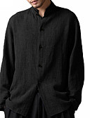 baratos Camisas Masculinas-Homens Camisa Social Temática Asiática Sólido Colarinho Clerical Preto / Manga Longa