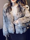 povoljno Prsluci-Žene Dnevno Jesen zima Normalne dužine Faux Fur Coat, Color block Ovratnika Dugih rukava Umjetno krzno Sive boje