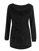 olcso Női pulóverek-Női Egyszínű Hosszú ujj Bő Pulóver Pulóver jumper, Kerek Ősz / Tél Fekete / Világoskék / Fehér S / M / L