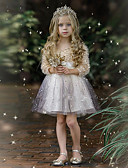 Χαμηλού Κόστους Φορέματα για κορίτσια-Παιδιά Κοριτσίστικα χαριτωμένο στυλ Συνδυασμός Χρωμάτων Πούλιες Μακρυμάνικο Ως το Γόνατο Φόρεμα Ασημί / Βαμβάκι