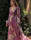 olcso Női ruhák-Női Elegáns Swing Ruha - Virágos stílus, Virágos Maxi Mély-V