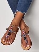 ราคาถูก เสื้อเอวลอยสำหรับผู้หญิง-สำหรับผู้หญิง รองเท้าแตะ ส้นแบน ปลายกลม หินประกาย PU ฤดูร้อน สีทอง