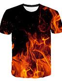 Χαμηλού Κόστους Ανδρικά μπλουζάκια και φανελάκια-Ανδρικά T-shirt Κλαμπ / Παραλία Κομψό στυλ street / Εξωγκωμένος Συνδυασμός Χρωμάτων / 3D / Γραφική Στρογγυλή Λαιμόκοψη Στάμπα Φούξια / Κοντομάνικο