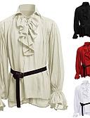 billige Hettegensere og gensere til herrer-Knekt Kostymer i middelalderstil Renessanse قميص Herre Kostume Svart / Hvit / Rød Vintage Cosplay Fest / Trøye / Trøye