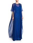 billiga Balklänningar-A-linje Prydd med juveler Svepsläp Chiffong / Paljetter Glitter och glans Formell kväll Klänning 2020 med