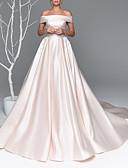 billiga Brudklänningar-A-linje Off shoulder Hovsläp Satäng Kortärmad Bröllopsklänningar tillverkade med Bård / Applikationsbroderi 2020