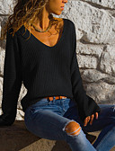 Χαμηλού Κόστους Sweater Dresses-Γυναικεία Μονόχρωμο Μακρυμάνικο Ζακέτα Πουλόβερ Jumper, Λαιμόκοψη V Άνοιξη / Φθινόπωρο Μαύρο / Θαλασσί / Ρουμπίνι Τ / M / L