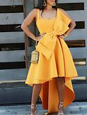 baratos Vestidos de Festa-Mulheres Básico Evasê Vestido - Laço, Sólido Assimétrico