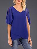 baratos Camisas Femininas-Mulheres Tamanhos Grandes Blusa Básico Sólido Decote V Roxo