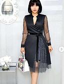 Χαμηλού Κόστους Επαγγελματικά Φορέματα-Γυναικεία Σιφόν Φόρεμα - Συνδυασμός Χρωμάτων Μίντι