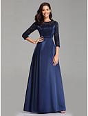 ราคาถูก Special Occasion Dresses-A-line อัญมณี ลากพื้น ลูกไม้ / ซาติน ทางการ แต่งตัว กับ ปักลายปัก โดย LAN TING Express