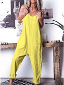 ราคาถูก จั๊มสูทและเสื้อคลุมสำหรับผู้หญิง-สำหรับผู้หญิง สีเหลือง สีน้ำเงิน ใบไม้สีเขียวที่มีสามแฉก Romper, สีพื้น S M L