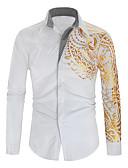 baratos Camisas Masculinas-Homens Camisa Social Moda de Rua Estampado, Geométrica Preto