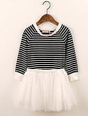Χαμηλού Κόστους Φορέματα για κορίτσια-Παιδιά Νήπιο Κοριτσίστικα Βίντατζ Εκλεπτυσμένο Μπλε Ριγέ Πλισέ Δίχτυ Μακρυμάνικο Πάνω από το Γόνατο Φόρεμα Λευκό / Βαμβάκι