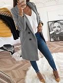 ราคาถูก เสื้อคลุมผู้หญิง-สำหรับผู้หญิง ทุกวัน ยาว เสื้อโค้ท, สีพื้น Turndown แขนยาว เส้นใยสังเคราะห์ สีดำ / สีเหลือง / สีน้ำเงิน