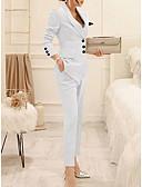 ราคาถูก ชุดสูททำหรับผู้หญิง-สำหรับผู้หญิง ชุด ปกคอแบะของเสื้อแบบน็อตช์ เส้นใยสังเคราะห์ สีดำ / ขาว
