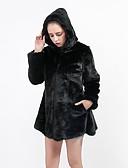 povoljno Ženske kaputi od kože i umjetne kože-Žene Dnevno / Izlasci Jesen zima Maxi Faux Fur Coat, Jednobojni S kapuljačom Dugih rukava Umjetno krzno Obala / Crn