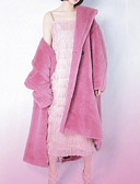 povoljno Ženske kaputi od kože i umjetne kože-Žene Dnevno Jesen zima Dug Faux Fur Coat, Jednobojni Rolled collar Dugih rukava Umjetno krzno Blushing Pink