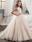 povoljno Haljine za djevojčice-Djeca Djevojčice Slatka Style Jednobojni Haljina Bež / Pamuk