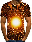 billiga T-shirts och brottarlinnen till herrar-Tryck, Färgblock / 3D / Grafisk T-shirt - Rock / Streetchic Herr Svart & Grå Gul