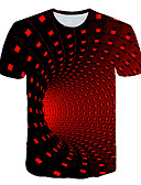 cheap Men's Tees & Tank Tops-Men's Going out Club Basic / Street chic T-shirt - Geometric / Color Block / 3D Print Black